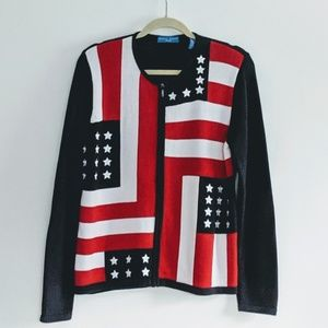 Karen Scott zip front flag sweater